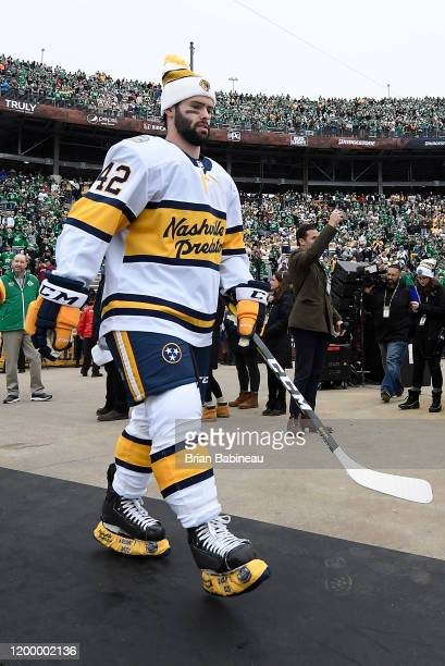 Colin Blackwell of the Nashville Predators walks to the ice for warmup prior to the 2020 NHL Winter Classic between the Nashville Predators and the...