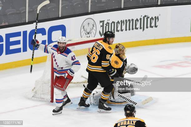 Colin Blackwell of the New York Rangers celebrates the third period goal against the Boston Bruins at the TD Garden on May 8, 2021 in Boston,...
