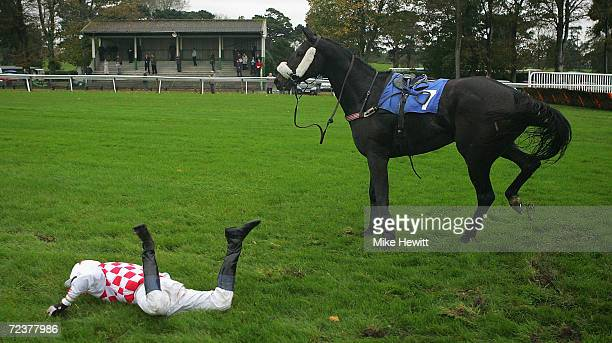 Colin Bolger parts company with Walcot Lad at the final fence in the Hazel Renshaw 20 Years Lewis Brownlee Handicap Steeple Chase on October 12 2004...