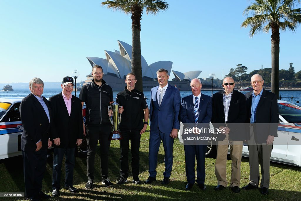 Colin Bond, Allan Moffat, Jonathon Webb, Will Davison, Supercars CEO James Warburton, Mayor of Bathurst Graeme Hanger, Fred Gibson and Jim Richards pose during the Bathurst 1000 Legends and Heroes Media Call in The Rocks on August 23, 2017 in Sydney, Australia.