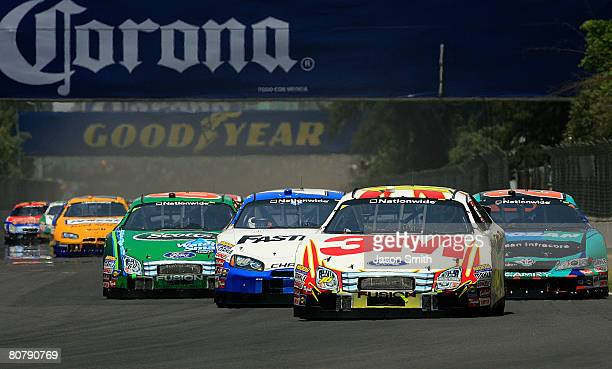 Colin Braun driver of the 3M Ford leads the field into turn one at the start of the NASCAR Nationwide Series Corona Mexico 200 at Autodromo Hermanos...