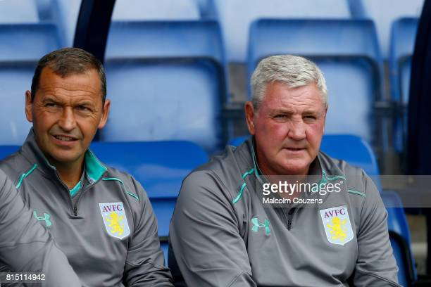 Colin Calderwood and Steve Bruce of Aston Villa during the PreSeason Friendly between Shrewsbury Town and Aston Villa at the Montgomery Waters Meadow...