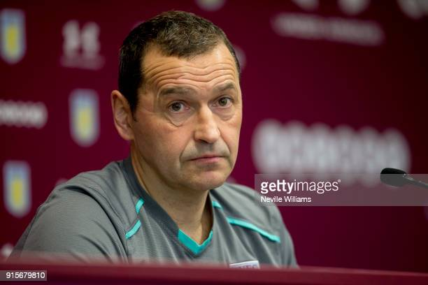 Colin Calderwood assistant manager of Aston Villa talks to the press during a press conference at the club's training ground at Bodymoor Heath on...