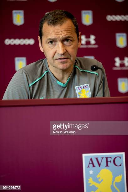 Colin Calderwood assistant manager of Aston Villa talks to the press during press conference at the club's training ground at the Recon Training...