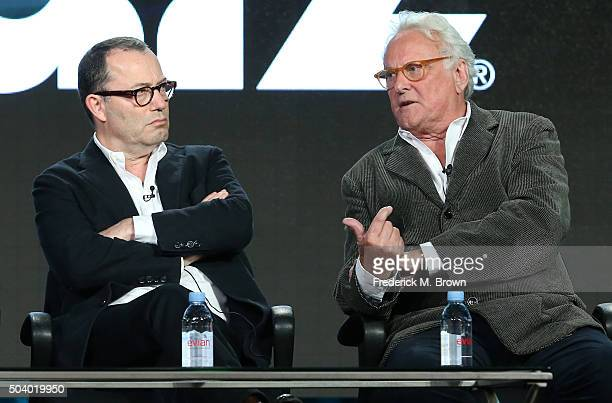 Colin Callender, executive director, and Richard Eyre, director, speak onstage during The Dresser panel as part of the Starz portion of This is Cable...