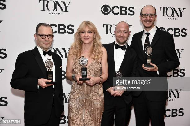 Colin Callender Sonia Friedman John Tiffany and Jack Thorne pose in the 72nd Annual Tony Awards Media Room at 3 West Club on June 10 2018 in New York...