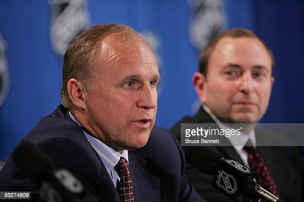 Colin Campbell Executive Vice President and Director of Hockey Operations and Commissioner Gary Bettman of the National Hockey League address the...