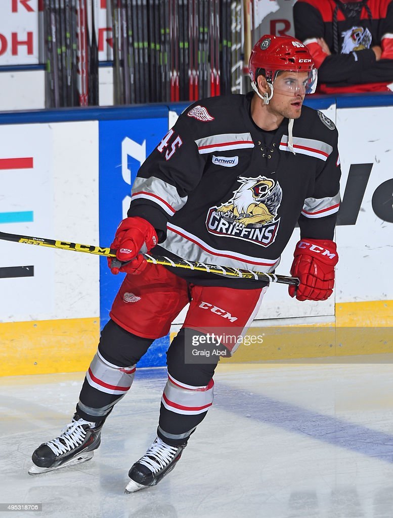 Colin Campbell #45 of the Grand Rapids Griffins takes warmup prior to a game against the Toronto Marlies on October 30, 2015 at Ricoh Coliseum in Toronto, Ontario, Canada.