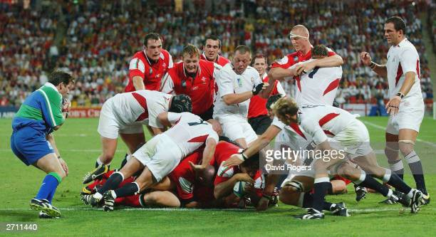 Colin Charvis of Wales scores a try during the Rugby World Cup Quarter Final match between England and Wales at Suncorp Stadium November 9 2003 in...