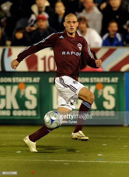 Colin Clark of the Colorado Rapids controls the ball during the MLS soccer game against the Los Angeles Galaxy at Dick's Sporting Good's Park on...