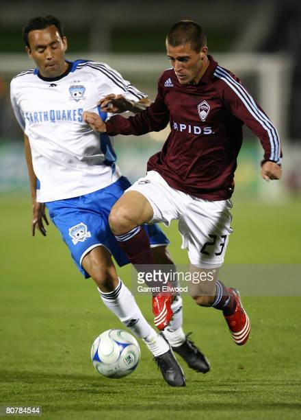 Colin Clark of the Colorado Rapids controls the ball during the MLS game against the San Jose Earthquakes on April 19 2008 at Dicks Sporting Goods...