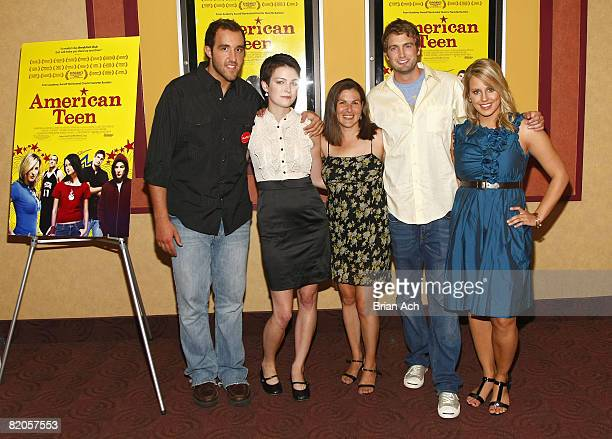 """Colin Clemens, Hannah Bailey, director Nanette Burstein, Mitch Reinholt, and Megan Krizmanich attend the New York premiere of """"American Teen"""" at the..."""