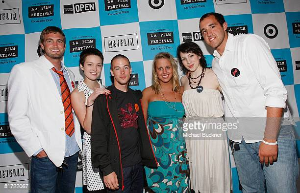 Colin Clemens, Hannah Bailey, Jake Tusing, Megan Krizmanich, producer Elisa Pugliese, and Mitch Reinholt attend the 2008 Los Angeles Film Festival's...