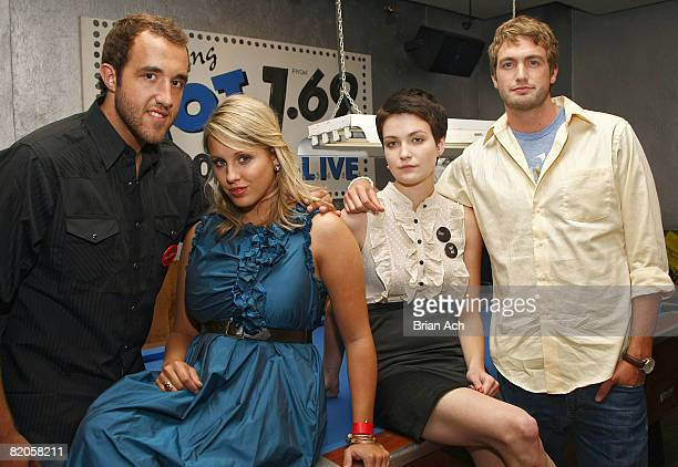 """Colin Clemens, Megan Krizmanich, Hannah Bailey, and Mitch Reinholt attend the after party for """"American Teen"""" at Pop Burger on July 24, 2008 in New..."""