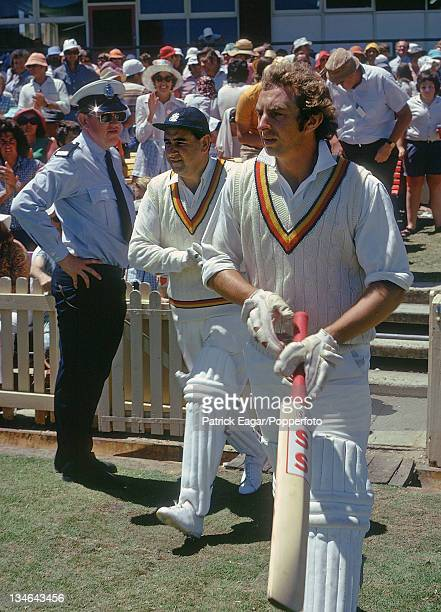 Colin Cowdrey opens the innings with David Lloyd, Australia v England, 2nd Test, Perth, December 1974-75.