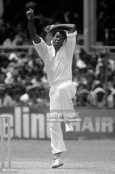 Colin Croft bowling for West Indies during the 1st Test match between West Indies and Australia at Port-of-Spain, Trinidad, 3rd March 1978.