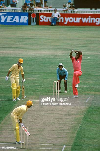 Colin Croft of WSC West Indies bowling in the 1st One Day International of the World Series Cricket International Cup between WSC Australia and WSC...