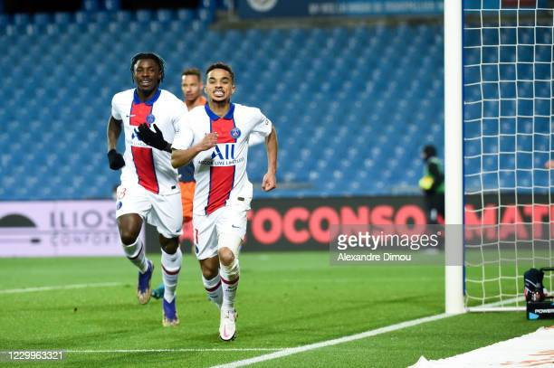 Colin DAGBA of Paris Saint-Germain celebrates his scoring during the Ligue 1 match between Montpellier HSC and Paris Saint-Germain at Stade de la...