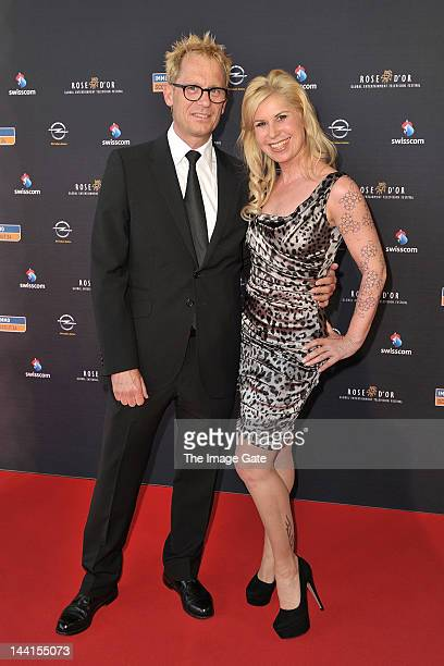 Colin Dawson and Denise Biellmann arrive at the Rose d'Or television festival award ceremony held at the KKL on May 10, 2012 in Lucerne, Switzerland.