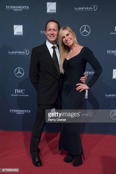 Colin Dawson and Denise Biellmann attend the 11th Laureus Charity Night at Hangar Duebendorf on November 18 2017 near Zurich Switzerland