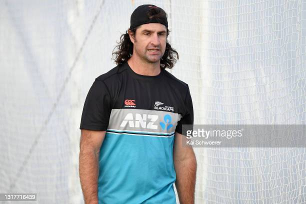 Colin de Grandhomme looks on during a New Zealand Blackcaps training session at the New Zealand Cricket High Performance Centre on May 13, 2021 in...