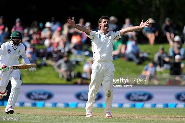 Colin de Grandhomme of New Zealand appeals for a wicket during day three of the First Test between New Zealand and Pakistan at Hagley Oval on...
