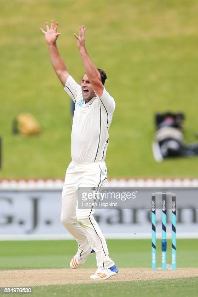 Colin de Grandhomme of New Zealand appeals successfully for the wicket of Kemar Roach of the West Indies during day four of the Test match series...