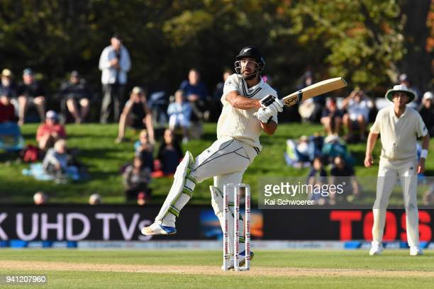 Colin de Grandhomme of New Zealand bats during day five of the Second Test match between New Zealand and England at Hagley Oval on April 3 2018 in...