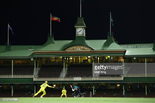 Colin de Grandhomme of New Zealand bats during game one of the One Day International series between Australia and New Zealand at Sydney Cricket...