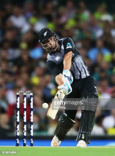 Colin de Grandhomme of New Zealand bats during game one of the International Twenty20 series between Australia and New Zealand at Sydney Cricket...