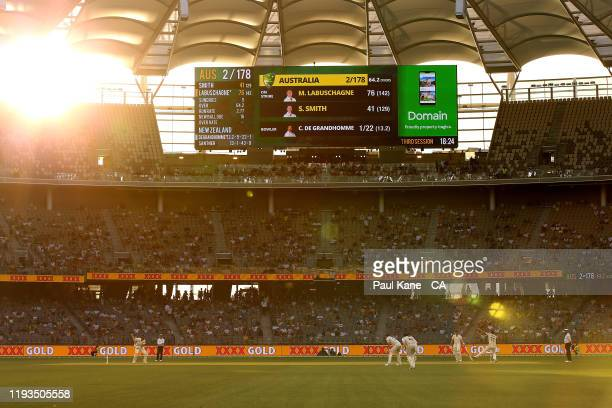 Colin de Grandhomme of New Zealand bowls to Marnus Labuschagne of Australia during day one of the First Test match between Australia and New Zealand...