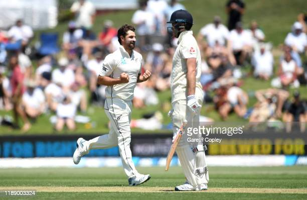 Colin de Grandhomme of New Zealand celebrates dismissing Dom Sibley of England during day one of the first Test match between New Zealand and England...