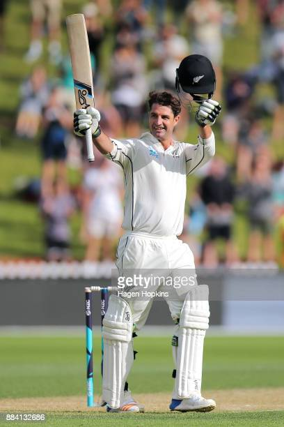 Colin de Grandhomme of New Zealand celebrates his maiden test century during day two of the Test match series between New Zealand Blackcaps and the...