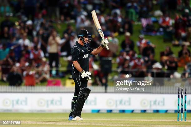 Colin de Grandhomme of New Zealand celebrates scoring a half century during game four of the One Day International Series between New Zealand and...