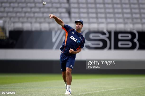 Colin de Grandhomme of New Zealand during the New Zealand Blackcaps Training Session Media Opportunity at Eden Park on February 20 2018 in Auckland...