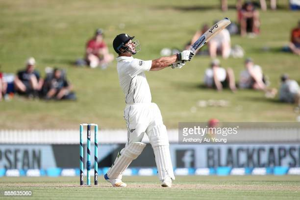 Colin de Grandhomme of New Zealand hits a six during day one of the second Test match between New Zealand and the West Indies at Seddon Park on...