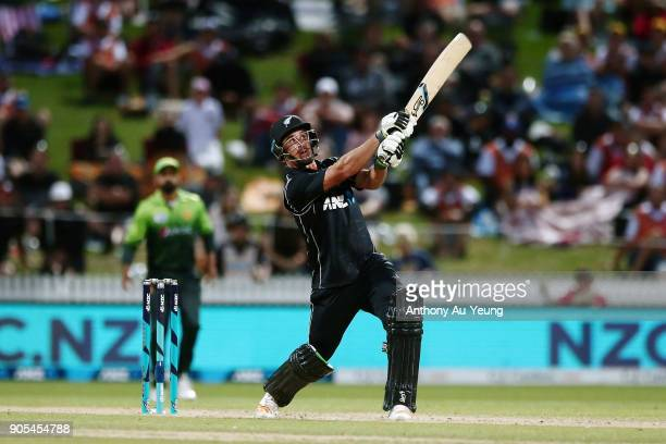 Colin de Grandhomme of New Zealand hits a six during game four of the One Day International Series between New Zealand and Pakistan at Seddon Park on...