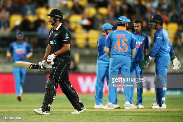Colin de Grandhomme of New Zealand leaves the field after being dismissed during game five in the One Day International series between New Zealand...