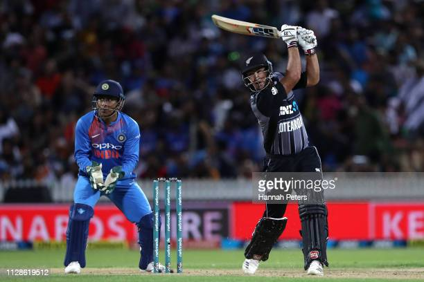 Colin de Grandhomme of the Black Caps bats during the International T20 Game 3 between India and New Zealand at Seddon Park on February 10 2019 in...