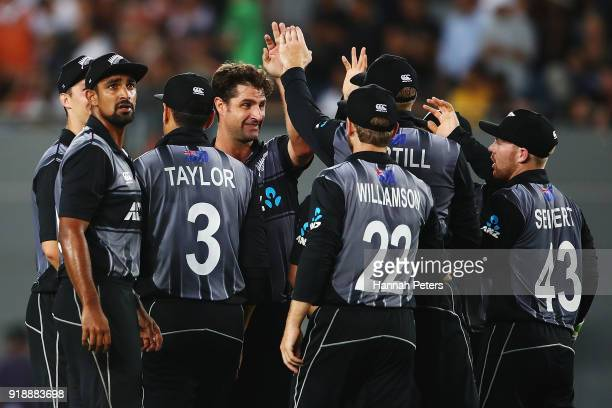 Colin de Grandhomme of the Black Caps celebrates the wicket of Chris Lynn of Australia during the International Twenty20 match between New Zealand...