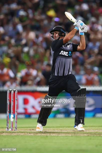 Colin de Grandhomme of the Black Caps plays the ball away for four runs during the International Twenty20 match between New Zealand and England at...