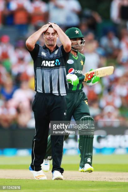 Colin de Grandhomme of the Black Caps reacts after bowling during game three of the International Twenty20 match between New Zealand and Pakistan at...