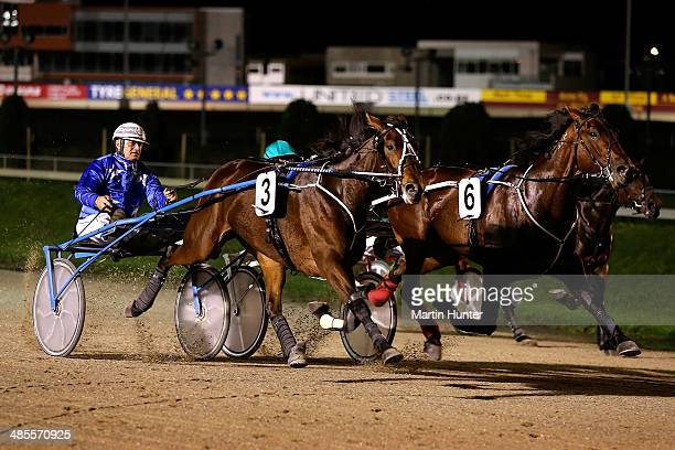 Colin DeFilippi driving Arya powers home to win the New Zealand Trotting Stakes during Easter Cup Day at Addington Raceway on April 19 2014 in...