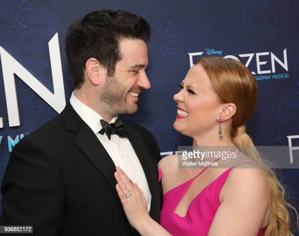 Colin Donnell and Patti Murin attends the Broadway Opening Night After Party for 'Frozen' at Terminal 5 on March 22 2018 in New York City