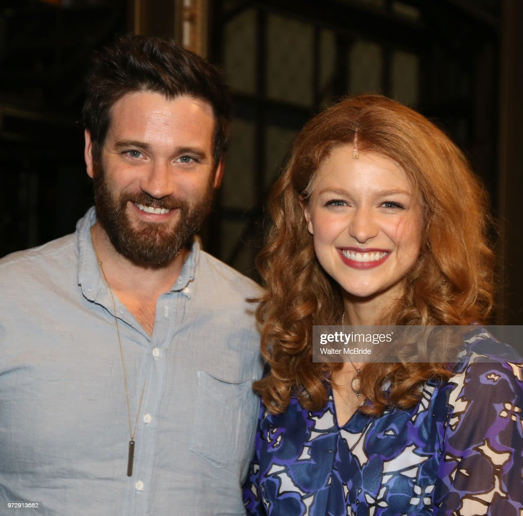 Colin Donnell visits Melissa Benoist backstage after her Opening Night debut in 'Beautiful-The Carole King Musical' at the Stephen Sondheim on June 12, 2018 in New York City.