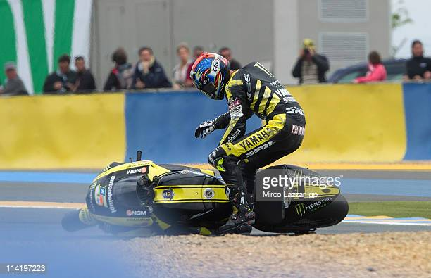 Colin Edwards of the United States and Monster Yamaha Tech 3 crashes out during the MotoGP race of MotoGP of France in Le Mans Circuit on May 15 2011...