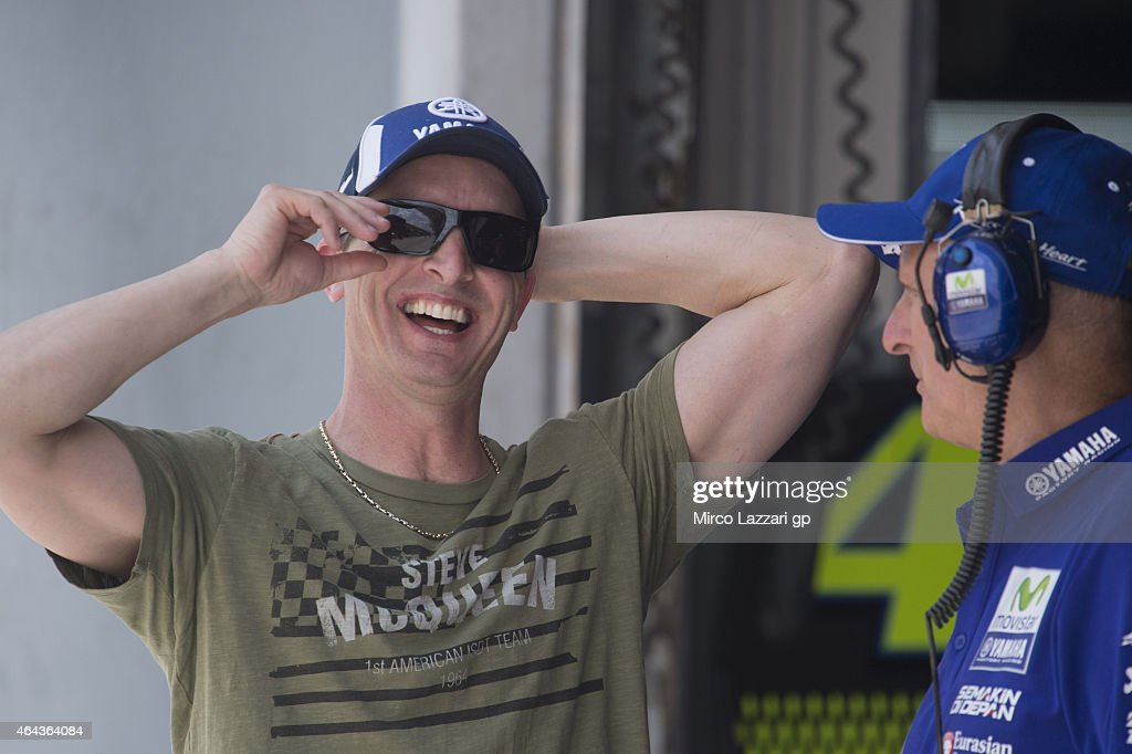 Colin Edwards of the United States smiles in pit during day three of the Sepang MotoGP Tests at Sepang Circuit on February 25, 2015 in Kuala Lumpur, Malaysia.