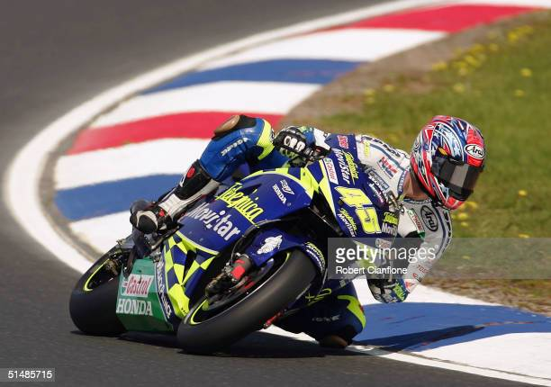 Colin Edwards of the USA and the Telefonica Movistar Honda MotoGp Team in action during qualifying for the Australian MotoGp which is round 15 of the...