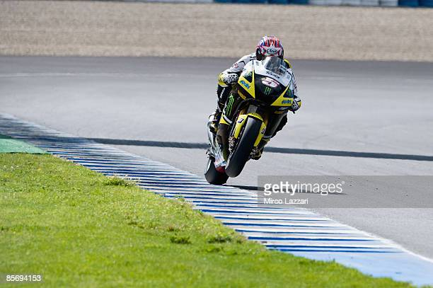 Colin Edwards of USA and Monster Yamaha Tech 3 heads down a straight during Irta Test on March 29 2009 in Jerez de la Frontera Spain