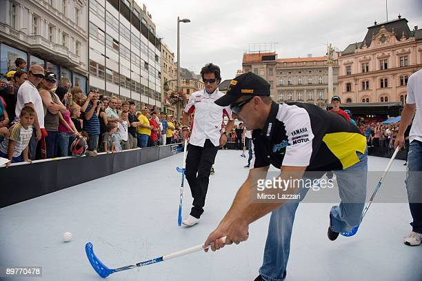 Colin Edwards of USA and Monster Yamaha Tech 3 takes part in the preevent Floorball Match with Riders in Brno city on August 13 2009 in Brno Czech...